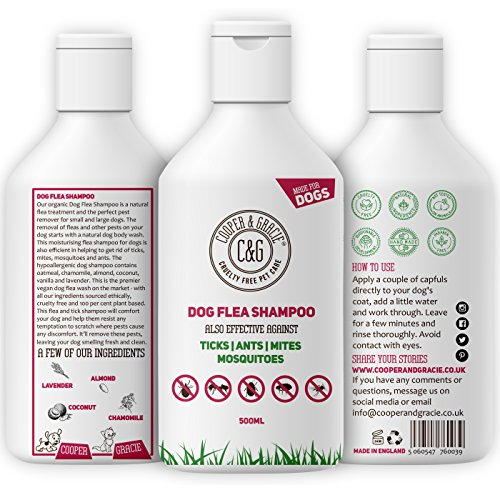 Cooper And Gracie C&G Cruelty free Pet Care Flea Shampoo For Dogs – Sensitive Itchy Skin Dog and Puppy Grooming – Medicated Fleas Treatment 500ml