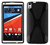 Cadorabo Hülle für HTC Desire 816 Hülle in Handyhülle aus flexiblem TPU Silikon im X-Line Design Silikonhülle Schutzhülle Soft Back Cover Case Bumper Oxid Schwarz
