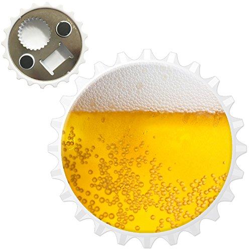 Nahaufnahme schaumiges Bier weiße Krone Kühlschrankmagnet mit Flaschenöffner