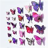 Unicoco 12 Piezas 3D Mariposa Pegatinas de Pared Adhesivo Etiquetas Mariposas Decoración de la Pared Para Casa Habitación Color Malva
