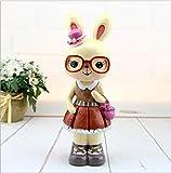 Weekendy Schöne süße Geldbank Große Ohren Garten Kaninchen Sparschwein Gläser Kaninchen Harz Ornamente (Pink)