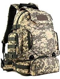Mochila Militar Táctica Mochilas Hombro Hombre Impermeable con Sistema Molle Bolsas de Asalto para Hombre Senderismo Caza Viajar (Gris-40L)