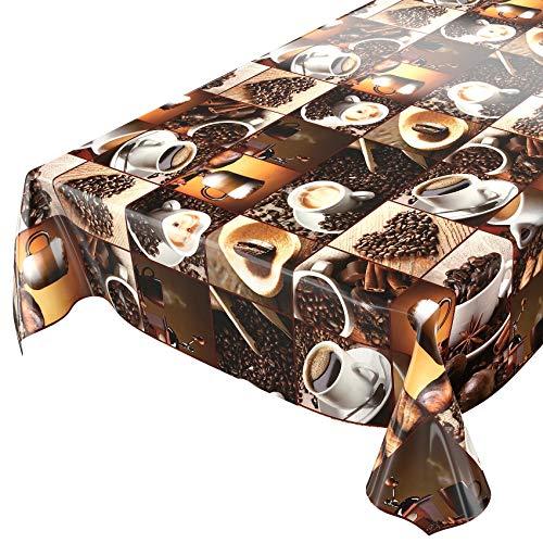 Tela cerata al metro, tovaglia, motivo: caffè e chicchi in quadrati, su misura, lunghezza selezionabile, asciugamani, 240x140cm