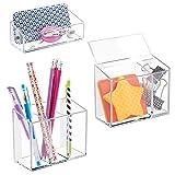 mDesign Juego de 3 organizadores de escritorio AFFIXX – Organizadores de plástico autoadhesivos para lápices, bolígrafos, etc. – Cajas transparentes para material de oficina