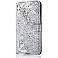 Shinyzone iPhone X 5.8 Zoll Brieftasche Leder Hülle mit 3D Schmetterling Diamant Glitzer Strass Feder Muster,[... preisvergleich bei billige-tabletten.eu