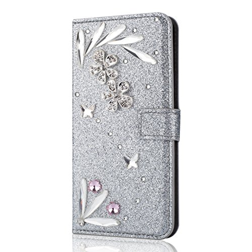 Shinyzone Hülle für Huawei P20 Lite Brieftasche Leder Hülle mit 3D Schmetterling Diamant Glitzer Strass Feder Muster,[Kartenhalter] [Standfunktion] Magnetisch Hülle für Huawei P20 Lite-Silber