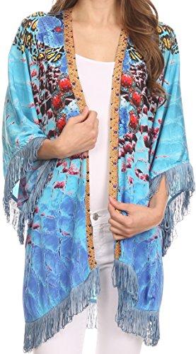 Sakkas Holliday Kimono aperto davanti trasparente con frange e orlo in diamante sintetico Blu Turchese / Multi