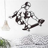 haotong11 Sport Stickers Murali Airborne Skateboarder Trucco Salto Skateboard Wall Sticker Palestra Sport Art Decalcomanie per Ragazzi Room Home41 * 50 cm