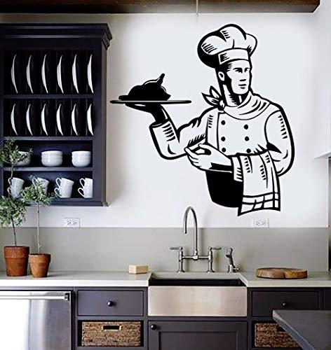 Wandaufkleber Restaurant Chef Wandtattoo Küchenteller Kochen Wandbild Restaurant Food Service Vinyl Wand Fenster Aufkleber 55x57cm