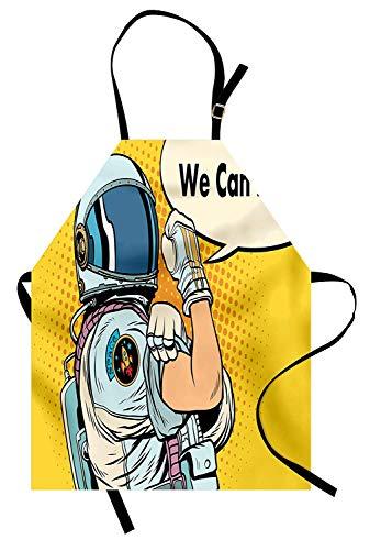 Soefipok Astronauten-Schürze, Astronauten-Version von We Can It Do Feminism Science Space Corps Comic-Figur, Unisex-Küchenschürze mit verstellbarem Hals zum Kochen Backen Gartenarbeit, ()