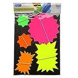 Neon Varios fluorescente Estrellas Tarjeta de pantalla–Pack de 50–colores variados