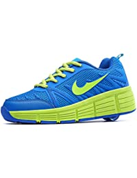 Sneakers mit automatischen Rollen für Kinder. Blau - Grün.