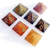Divine Magic Pyramid Reiki Crystals for Healing (Multicolour, 2.5 x 2.5 x 2.5) - Set of 7)