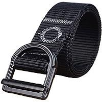 cinture web militare stile tattico Yacn nero per gli uomini Duty in nylon V-anello fibbia in metallo grigio scuro