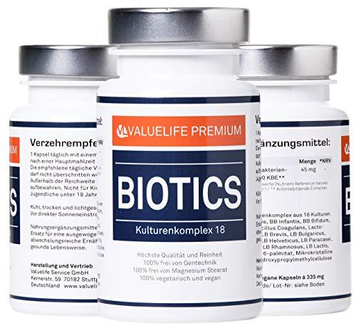 Biotics Kulturenkomplex Kapseln: 18 aktive Bakterienkulturen pro Darmflora – Bifidobakterium, Lactobacillus, Coagulans – Breitband Darmkomplex: Pro Wohlbefinden, Verdauung &