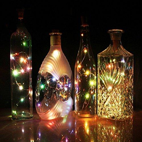 Solar Weinflasche Kork Lichter - DIY Kupferdraht Flasche Lichter für 10LED Kork Lichter für Flasche - Party, Dekor, Weihnachten, Halloween, Hochzeit, Akzent Stimmung Lichter (Flasche NICHT inbegriffen) - 4 Pack (Farbe) (Making Halloween Dekoration)