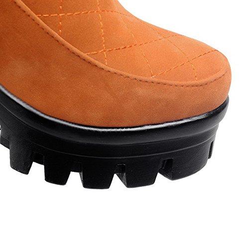 VogueZone009 Damen Rund Zehe Niedrig-Spitze Hoher Absatz Eingelegt Stiefel mit Metalldekoration Gelb