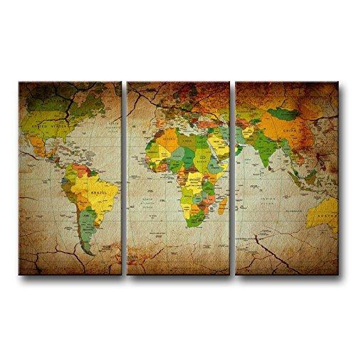 3Stück Braun Wand Kunst Bild Word Map Prints auf Leinwand Die Karte Bilder Öl für Home Moderne Dekoration Print - Halloween-die Geschichte Komplette