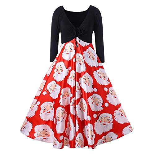 LOPILY Damen Weihnachten Kleid Christmas Kleid Dress Fashion Women V-Neck Ribbons Merry Christmas Santa Claus Print Party Midi Dress