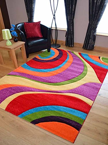 Multicoloured Swirl Design Rug available in 7 sizes (80cm x150cm)
