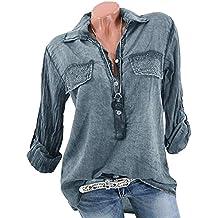 Minetom Mujer Camisa T-Shirt Pullover Ajustable Manga Largas Verano Casual Blusas Moda Shirt Tops