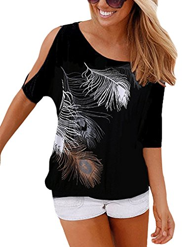 Yidarton Sommer Frauen Bluse weg von der Schulter Short Sleeve Feder Druck Muster Jumper Tops Pullover T-Shirt, Schwarz, XL