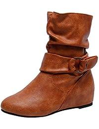 e222b0e78 LuckyGirls Botas de Media Caña para Mujer Hebilla Botitas Botín Botas de Nieve  Moda Zapatos Aumentó