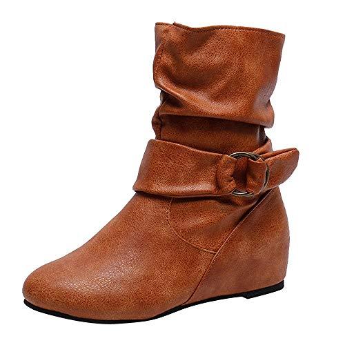 (MYMYG Stiefel Frauen erhöhen innerhalb des seitlichen Reißverschlusses seitlicher Reißverschluss Madeline Boots Chelsea Boots Leder Kurz Stiefeletten Schneestiefel Schneeschuhe)