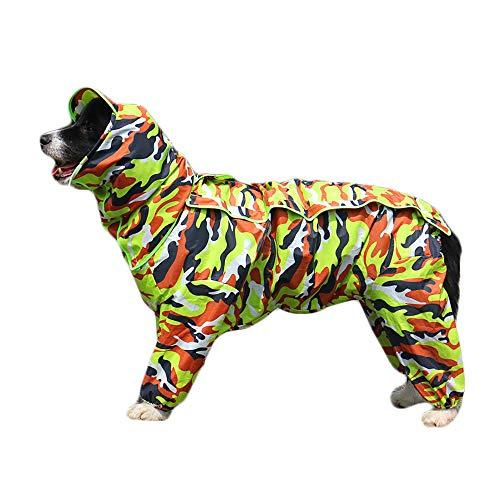 TFENG Hunde Regenmantel mit Abnehmbarem Hoodie, Verstellbarer Outdoor-Tunnelzug Hundemantel, Wasserdichte Hundejacke Regenjacke mit Kapuze und Kragenloch, 10 Größen (Camouflage grün) -