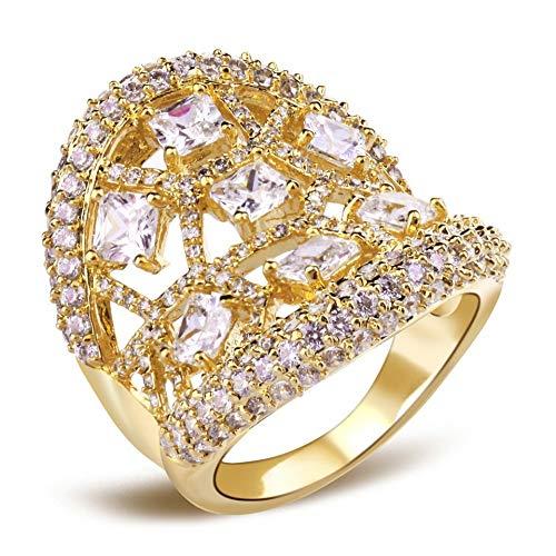 CCWANRZ Verlobung/Hochzeit ringWomen Ringe Rhodium Gold Farbe Braut Hochzeit Schmuck Princess Look Square Cut CZ montiert Fashion Ringe, Gold-Farbe, 6