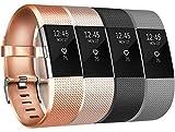 Tobfit per Fitbit Charge 2 Cinturino da Polso Regolabile Sport di Braccialetto di Ricambio per Fitbit Charge 2 Donna Uomo (09 Champagne Oro + Rose Oro + Negro + Gris, Large)