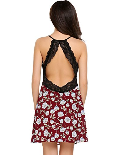 ADOME Damen Nachthemd Baumwolle V-Ausschnitt Unterkleid Träger Sexy Pyjama Kleid Spitze SchwarzGrau/Blau 5901_Rot