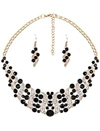 YAZILIND Women Rhinestone Crystal Necklace And Earring Set Statement Choker Collar Jewelry Set