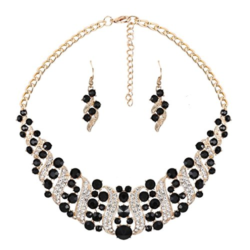 YAZILIND Women White Black Rhinestone Crystal Necklace And Earring Set Statement Choker Collar Jewelry Set
