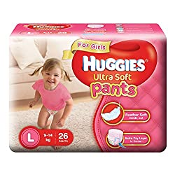 Huggies Ultra Soft Pants Large Size Premium Diapers for Girls (26 Counts)