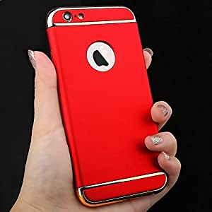 CRW Chrome 3 Piece Hybrid Protective Back Case Cover for Apple Iphone 6/6S Red