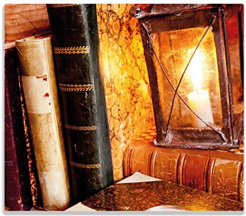 Antike Kerze Laterne (Wallario Herdabdeckplatte/Spritzschutz aus Glas, 1-teilig, 60x52cm, für Ceran- und Induktionsherde, Antike Laterne mit Kerze Alten Büchern und Taschenuhr)