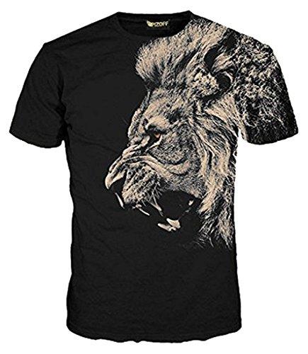 Pizoff Männer T-Shirt Sommer-Rundhalsausschnitt kurze Ärmel Lion Muster in Mode Spaß schlank Hip-Hop-kühle Persönlichkeit Komfort lässig unisex Tops Y1625-73-L (T-shirt Print Lion)