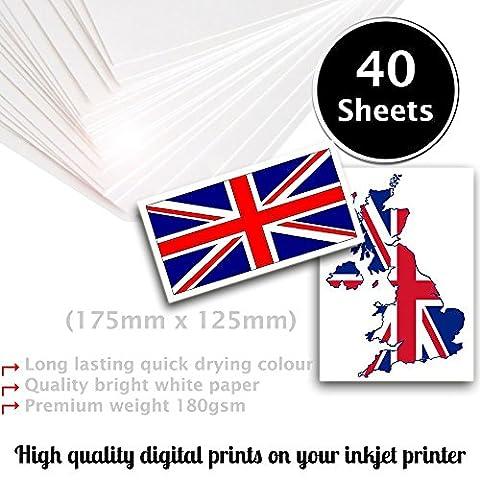 40Blatt A4180g/m² Fotopapier–sehr glänzend weiß und wasserdicht Foto Papier, kompatibel mit Inkjet- und Fotodrucker
