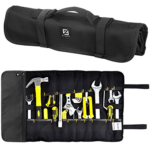 ZhaoCo Tool Roll Pouch, Tool Roll Bag 29 Pockets Socket - Wrench Roll Up Tool Bag Kit, Rolling Organizer, Tool Storage Tote for Garden Tools, Electricians and Mechanics - Black