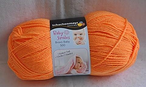 NEU!!! 250g Baby Smiles Bravo Baby 500 - Die neue Kollektion für unsere ganz kleinen ist geschaffen! - Farbe 1025 mandarine - 1 Knäuel = 1 Decke