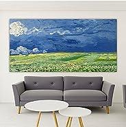 HODE79- Quadro Artistico su Tela di Grande Dimensione- Van Gogh- Campo di Grano sotto un Cielo Tempestoso (150