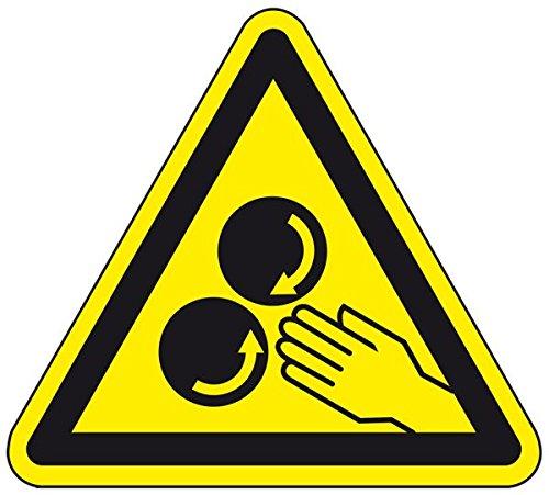 LEMAX® Warnschild Warnung vor rotierenden Walzen,praxisbewährt,Folie,SL 50mm,10/Bogen -