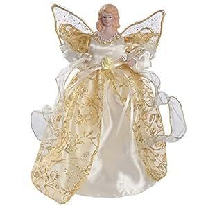 Werchristmas pointe de sapin de no l en forme d 39 ange ail dor 25 cm cuisine maison - Ange pour pointe de sapin ...