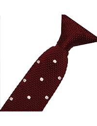Cravatemince pour homme Rouge Foncé à point Blanc bout carré de 6cm