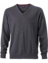 JAMES & NICHOLSON - pull tricot léger - coton - col V - JN659 - Homme