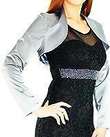 #992 Damen Luxus Satin Bolero Langarm Jacke Blazer Gr. 36 38 40 42 44 46 48 50 52 54 56 Silber