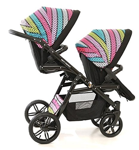 Double pram for twins. 2 carrycots + 2 buggies + 2 car seats. Multicolour. BBtwin Berber Carlo Directly from the factory, warranty and advice. Made un the EU according to the regulations EN1888 and ECE44/04. Multicolour. Includes 2 carrycots, 2 buggy seats, 2 car seats, bag, 2 footcovers, 2 rain covers, 2 mosquito nets, lower basket. Features: lightweight aluminium frame, easy bending, adjustable handlebar, central brake, lockable front swivel wheels, shock absorbers, each buggy can be instaled independently in both directions, carrycots with a mattress and a washable cover, backrest adjustable in various positions, safety bar and harness of 5 points 2