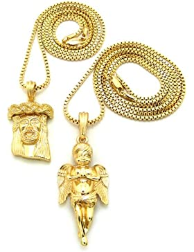 Gold Anschein 2 Stück Cherub Engel und Jesus Mikro Anhänger Sammlung O mit 76cm Box Halskette