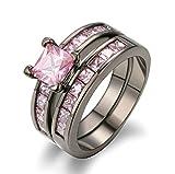 Beydodo Vergoldet Ring Damen Schwarz Prinzessschliff Rosa Zirkonia Verlobungsringe Hochzeitsring Schwarz Größe 62 (19.7)